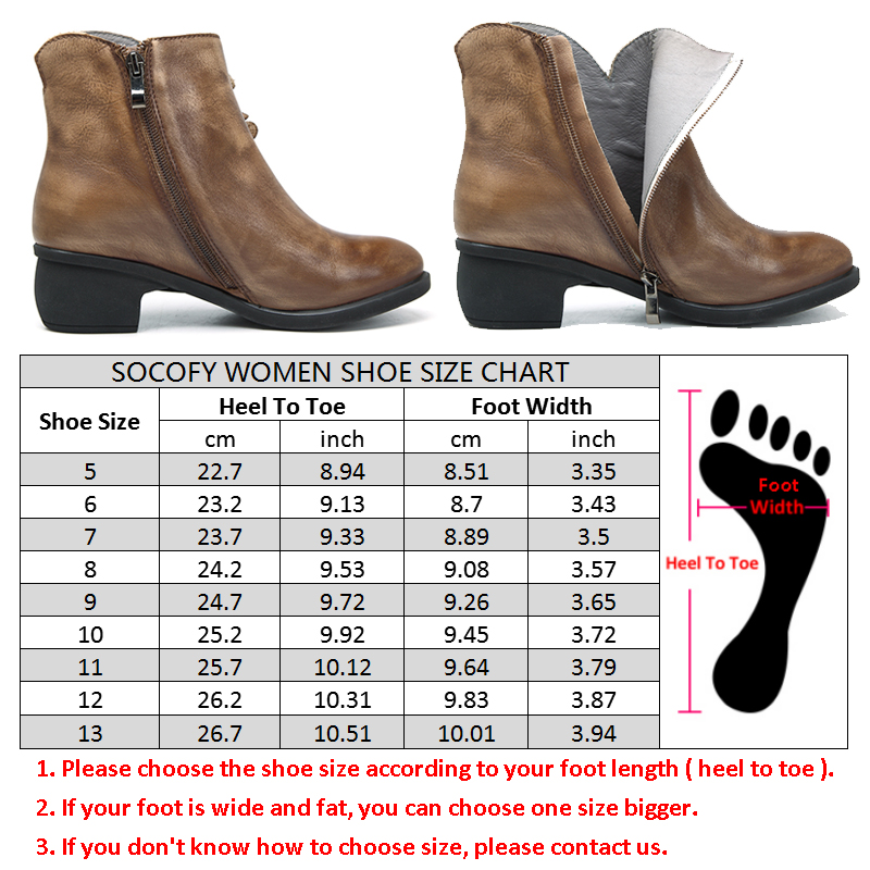 Socofy Genuine Leather Boots Women Shoes Large Size Vintage Flower Ankle Boots For Women Spring Winter Shoes Zipper Ladies Shoes-in Ankle Boots from Shoes    3