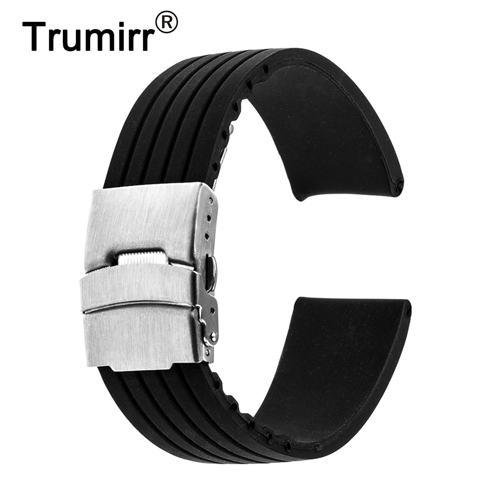 17mm 18mm 19mm 20mm 21mm 22mm 23mm 24mm Universal Silicone Rubber Watchband Stainless Steel Buckle Watch Band Resin Strap