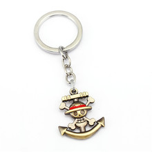 3 Colors One Piece Luffy Skull Pendants Keychain