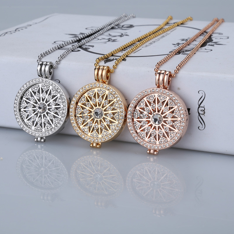 High grade sale flowes gold 35mm coin necklace pendants disc fit my 33mm coins holder for women fashion jewelry 2017