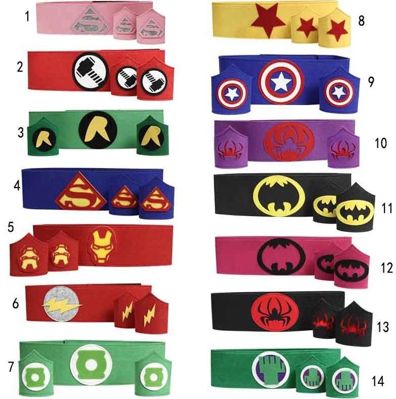 Cos Superhero Belt Cuff armband wristband waistband Teen kidsCaptain America Thor wonderwoman spiderman costume Halloween party ...