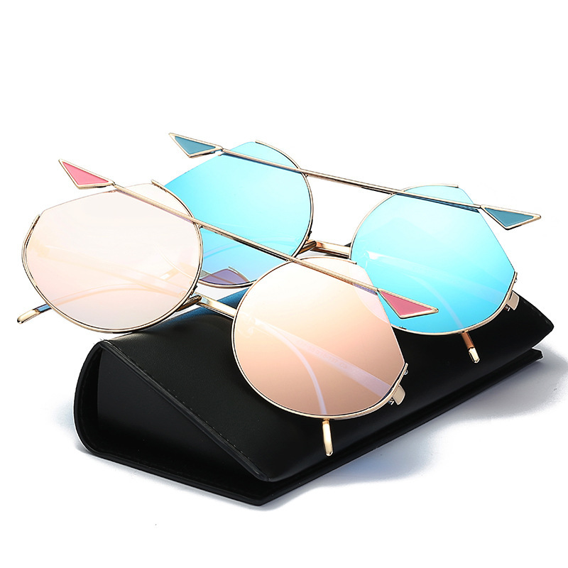 New Pattern Cat Eye Dazzling Color Major Suit Sunglasses Sun Glasses Oversized Big Luxury Pearl Goggle Lens Clear Male Female