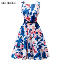 Europe And The United States Large Size Women S Summer Dresses Cheap Sleeveless Floral Printed Retro