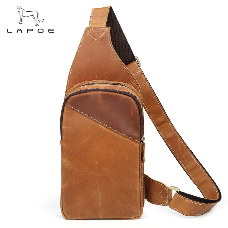 LAPOE Vintage Genuine Leather Men Messenger Bags fashion zipper shoulder bag sling chest bag travel pack Crossbody Bag цены онлайн