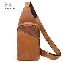 LAPOE Vintage Genuine Leather Men Messenger Bags fashion zipper shoulder bag sling chest bag travel pack Crossbody Bag