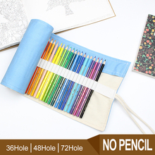 Pencil Wrap 36/48/72 Holes Portable Canvas Roll Up Blue Color Pencil Case Students Stationary Pouch For Painting School Supplies цена и фото