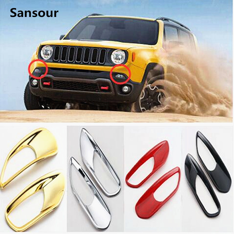 Sansour Daytime Running Lights Trim Lamp Cover Exterior Decoration Accessories Chrome ABS For Jeep Renegade Free Shipping