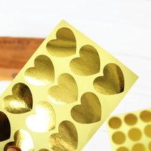 Adesivo de selo dourado para crianças, etiquetas de papel de coração redondo, selo de presente, caixa de presente, adesivos de papelaria para crianças com 120 peças