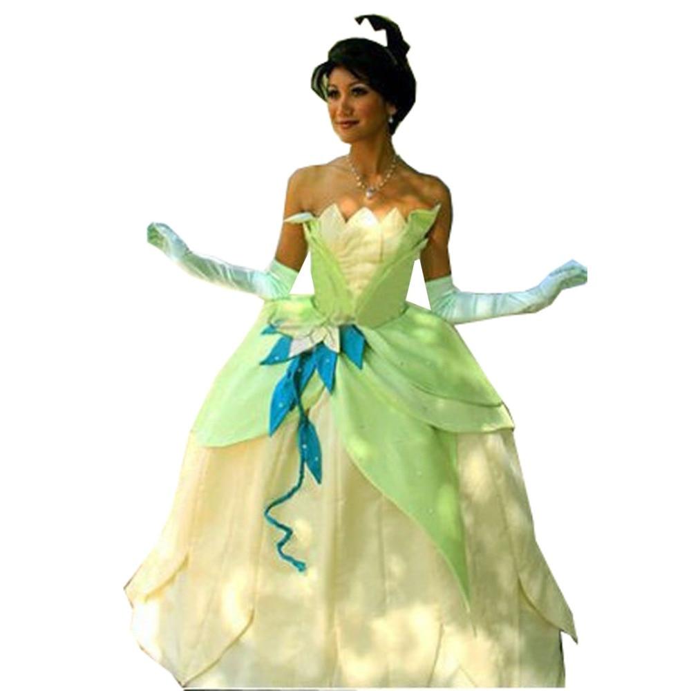 2018 Fancy Dress Adult Women The Princess and the Frog Tiana Cosplay Tiana Princess Costume Cosplay Green Princess Costume