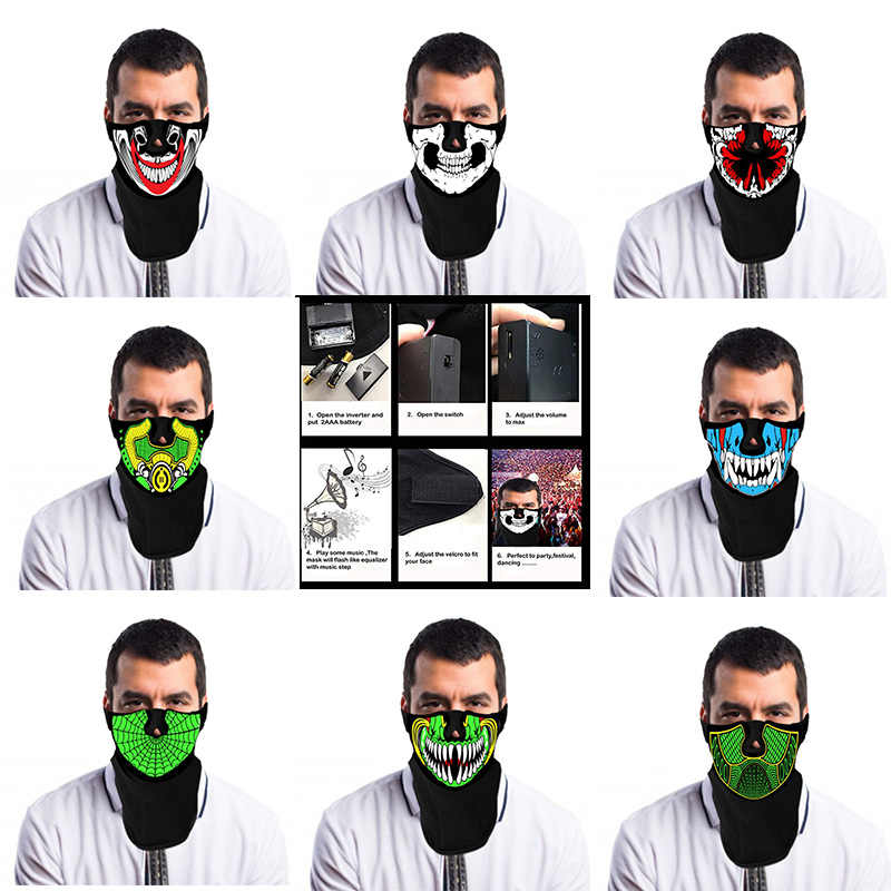 Festival Party LED Masks Sound Controlled Luminescence  Terror Masks Cold Light Helmet Fire Glowing Dance Voice-activated Masks