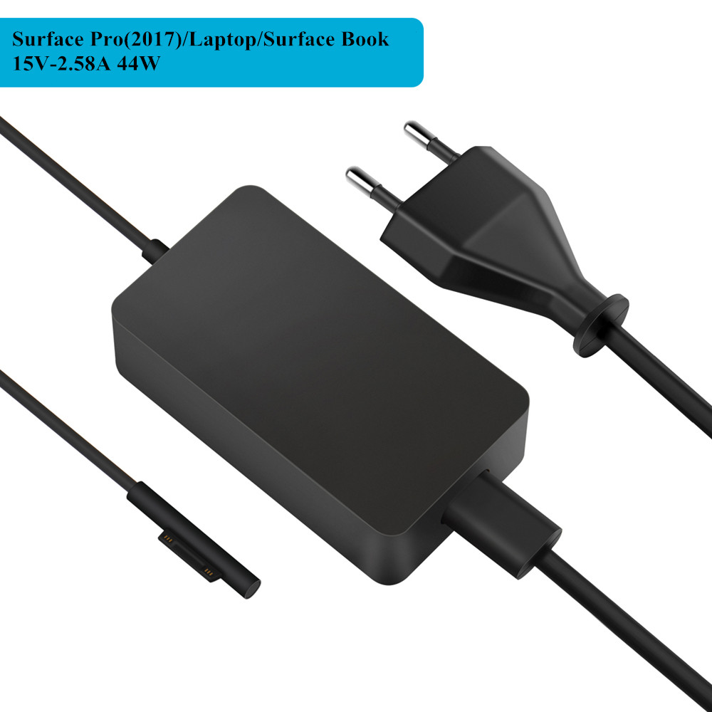 SuperNight DC 15V 2.58A 44W Power Supply Adapter for Microsoft Surface Laptop Pro 3 4 5 2017 Book Charger with USB Port EU US UK