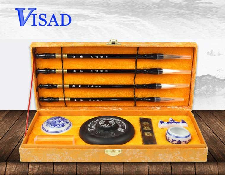 10 pçs/set Chinês pincel de Caligrafia doninha caneta conjunto caixa de presente de lã de alta qualidade escovas de cabelo escova de Lian