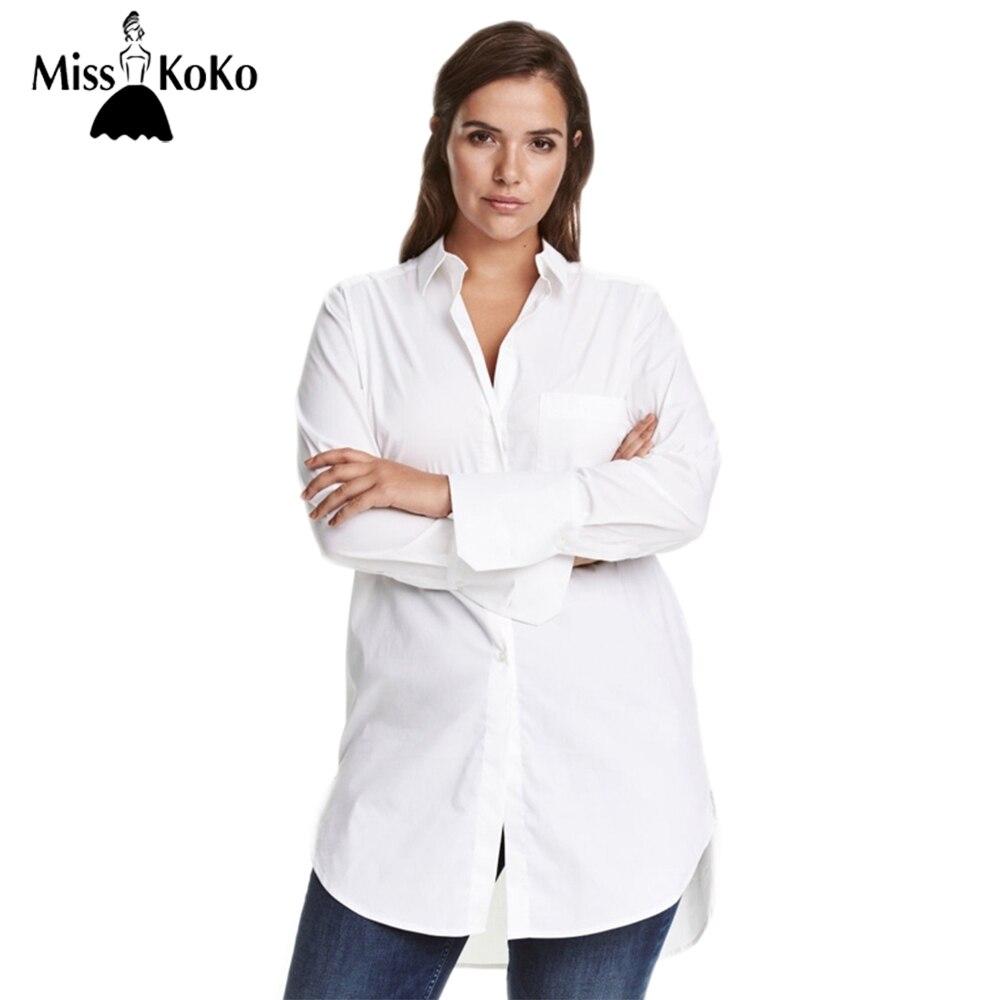 MissKoKo Plus La Taille Femmes Chemise Casual Solide Blouse OL À Manches Longues Vêtements Grande Taille Longues Hauts de base 3XL 4XL 5XL 6XL 7XL