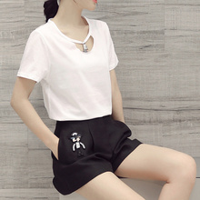 Summer 2 Piece Set Women 2016 O-Neck Pockets Solid Set Women Fashion Cotton Crop Top And Shorts Set New 2 Piece Set Women 8178