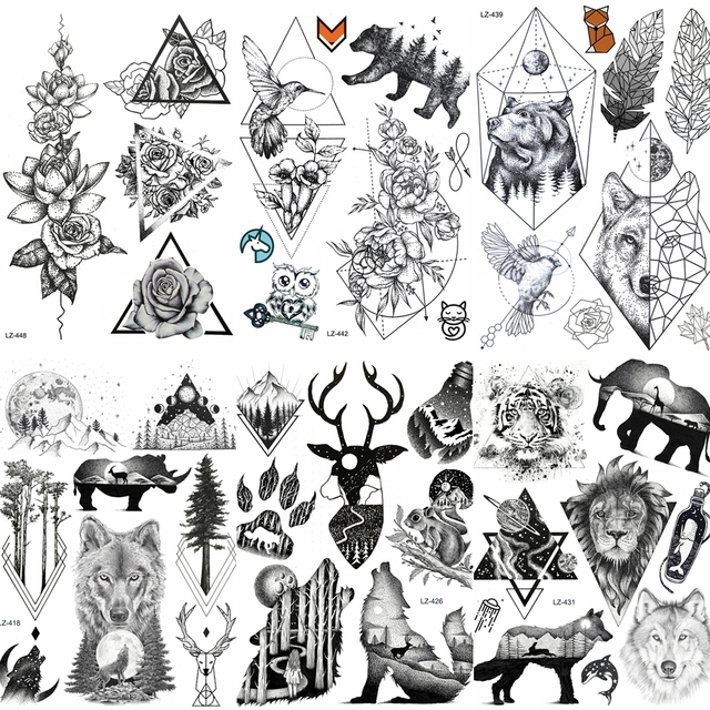 Cool Large Lion Head Tattoo Waterproof Arm Back Decals Temporary