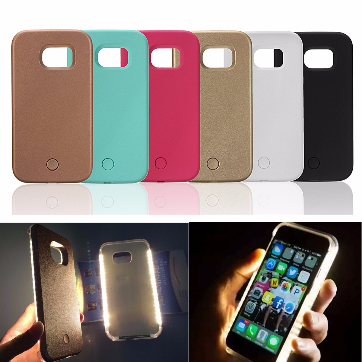 Selfie Flash LED White Light Up Back Cover Case for Samsung Galaxy S5 S6 S7 Edge