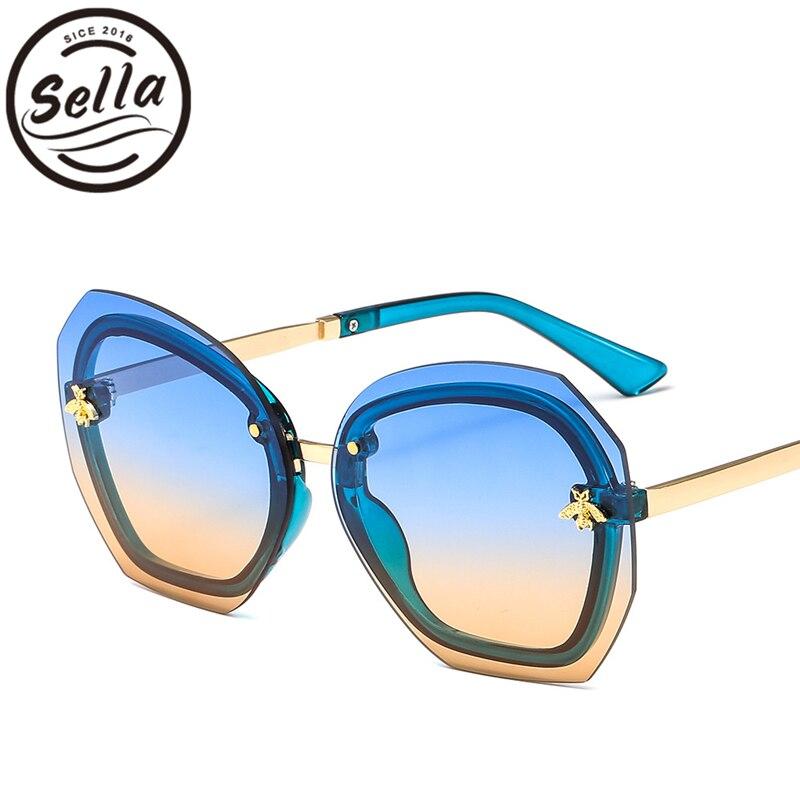 Sella Neue Ankunft Mode Frauen Übergroßen Randlose Sonnenbrille Marke Designer Bee Dekoration Gradienten Objektiv Rosa Sonnenbrille Schatten