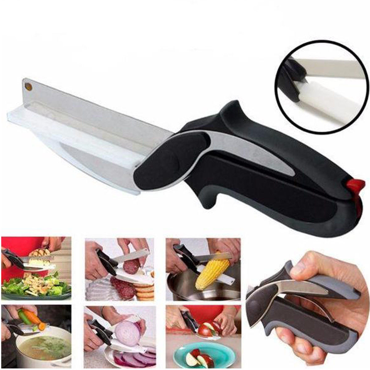 Stainless Steel Kitchen Scissors 2 in 1 Cutting Board Kitchen Chopper Clever Fruit Vegetable Scissors Multifunctional