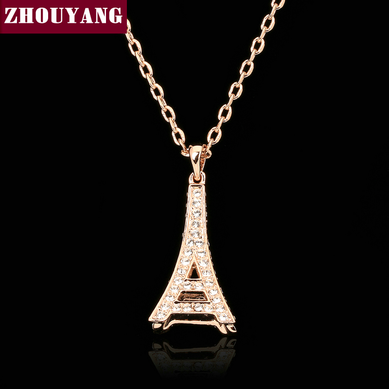 Top Quality Fashion Eiffel Tower Rose Gold Color Necklace Pendant Jewelry Made with Austria Crystal Wholesale ZYN085 ZYN086