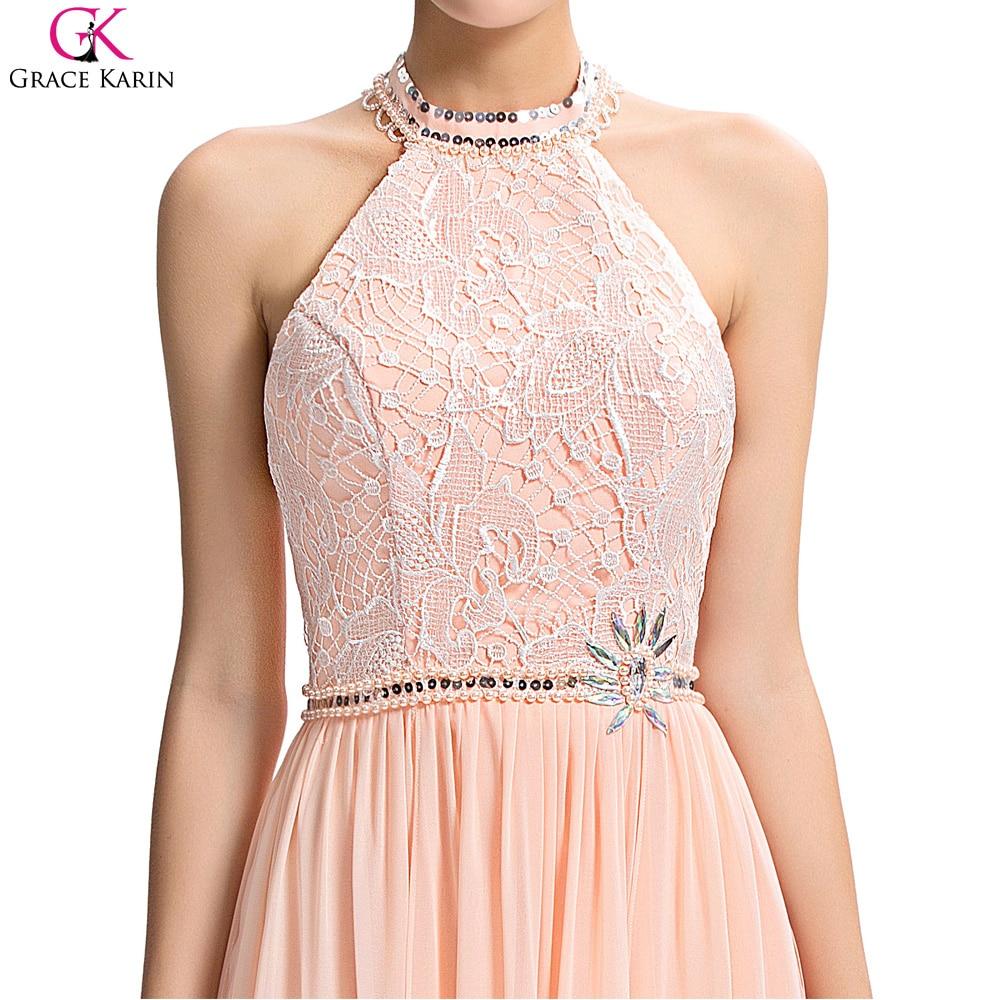 Vestido de noche largo grace karin pink side dividir cabestro cuello ...