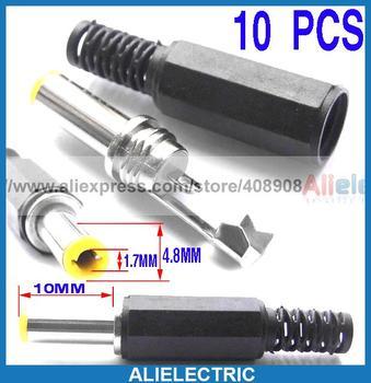 250pcs/lot  10 x 4.8 x 1.7mm DC Power Plug Connector for CCTV