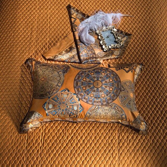 Luxury Bedding set Queen King size Golden Silver Satin Cotton Bed set Doona Duvet cover Bed sheet set juego de cama linge de lit 4