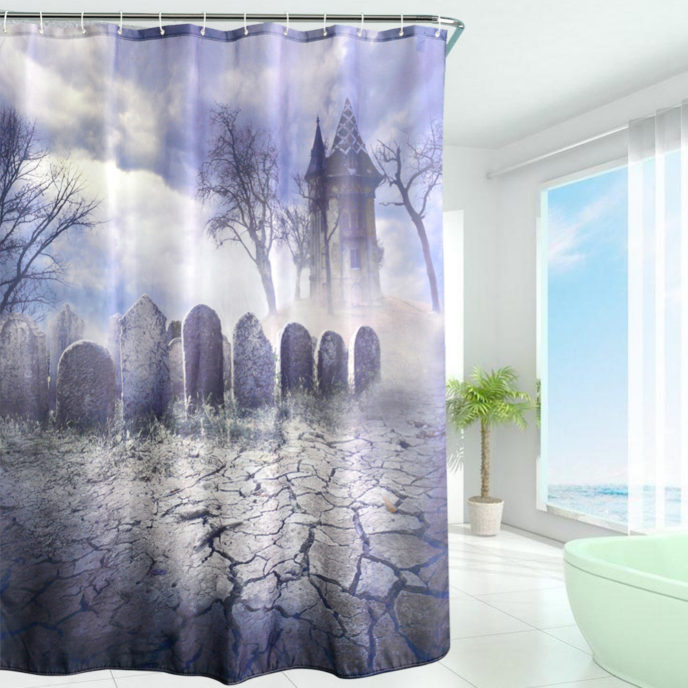Halloween shower curtain hooks - 2017 Waterproof Halloween Wilderness Tombstone Polyester Shower Curtain High Quality Bath Bathing Curtain For Home Decor