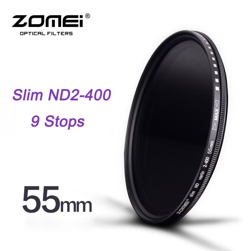 ZOMEI 55mm Slim Fader ND2 a ND400 ND2 Neutral Density Controllo dissolvenza Filtro per Canon NIkon Hoya Sony Fotocamera DSLR lente
