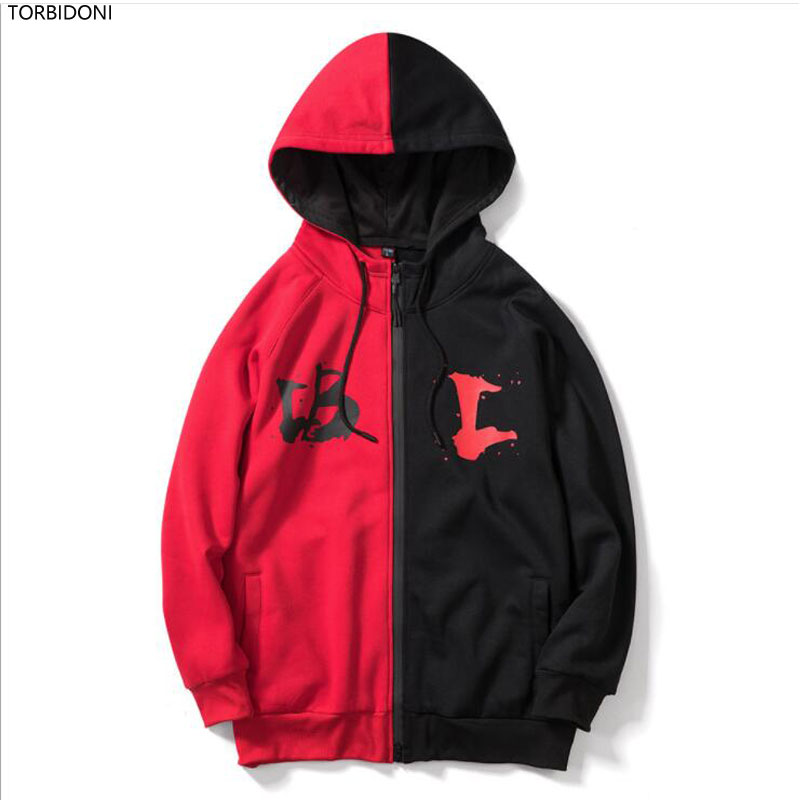 Autumn Harajuku Hoodies Men Fashion Letter Printed Brand Casual Sweatshirt Hooded Patchwork Mens Hoodies Casual Hip Hop Pullover