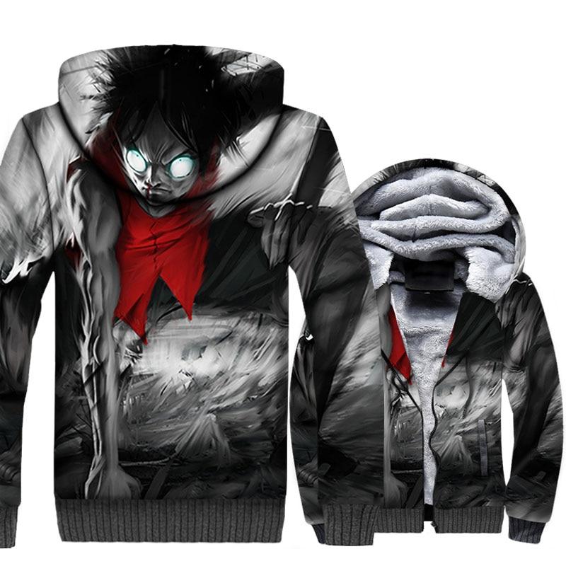 Anime One Piece 3D Hoodies Men Luffy Jackets Harajuku Sweatshirt Winter Thick Fleece The Pirate King Coat Hipster Streetwear