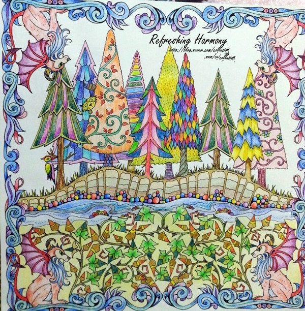 Enchanted Forest An Inky Quest Coloring Book For Children Adult Relieve Stress Kill Time Graffiti Painting Drawing In Books From Office School