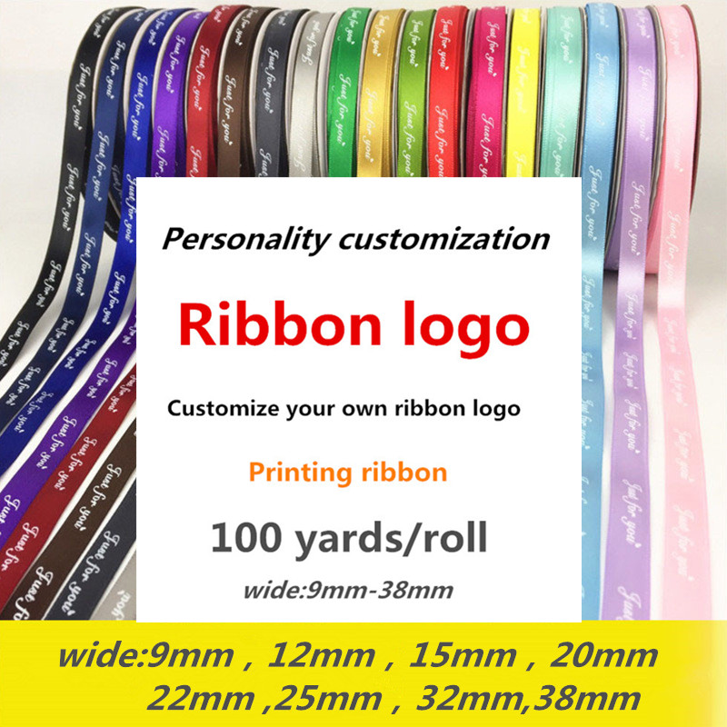 100yard /roll 6mm-38mm Personality Customization Logo Ribbon Gift Packaging Polyester Decoration Printed Satin Ribbon