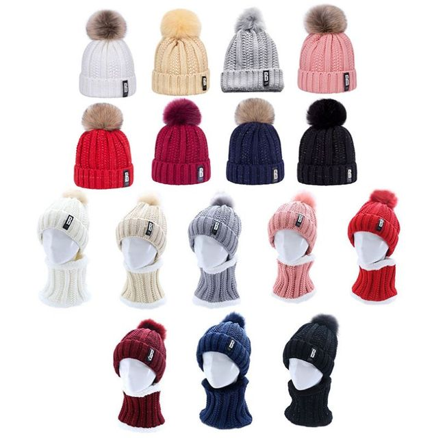 171ed54cc US $3.24 27% OFF|Womens Winter Knitted Hat Pompom Ball Woolen Thicken  Windproof Cuffed Snow Ski Beanie Cap With Plush Collar Neck Scarf Set  Solid-in ...