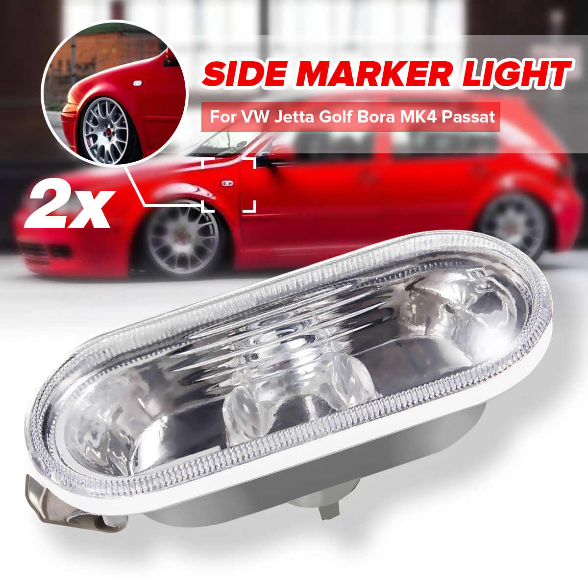 2Pcs Car Auto Side Marker Light For VW Jetta Golf Bora MK4 Passat B5 B5.5 GTI Beetle R32