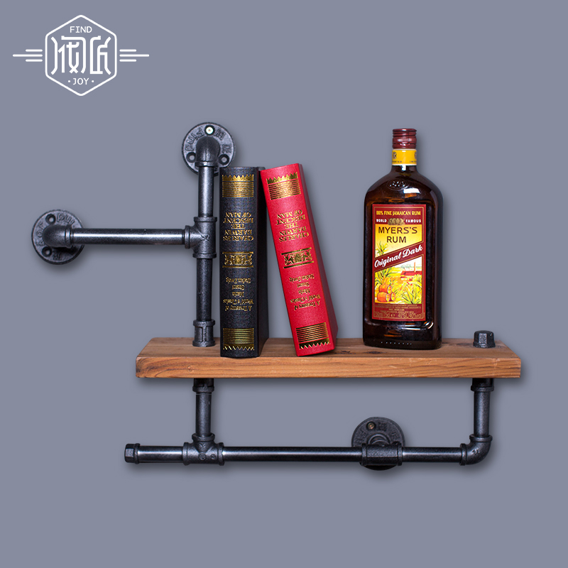 50*15cm Happy Happy Iron Vintage Clothing Rack Clothing Store Racks Shelf Solid Wood Shelves Old Pipe Wall Towel Racks-Z3 towel racks loft american country to do the old style wrought iron wall towel racks shelf retro industrial rust proof pipes z22