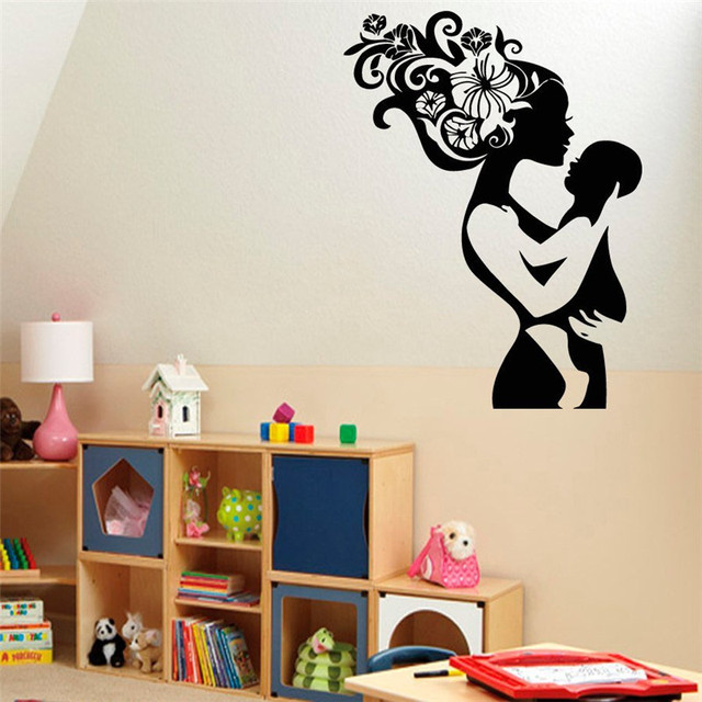 Wall Decal Vinyl Sticker Beauty Salon Girl Mom Mother With Baby Kids Wall  Decor Love Family