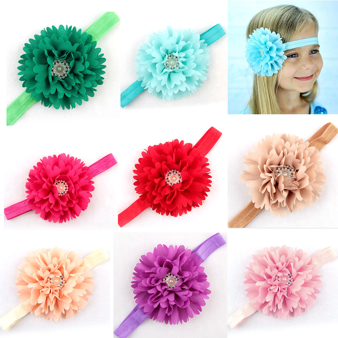 Children Pearl Crystal Hair Hand Headband Headwear Fabric Rhinestone Soft <b>Infant</b> headband - China Cheap Products