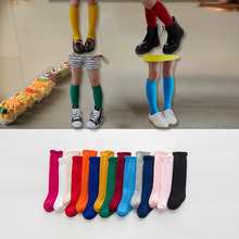 1 Pair 2019 New Spring Summer Cotton Lace Double Needle Children Breathable kids Socks Solid Baby Girls Knee Socks School sock