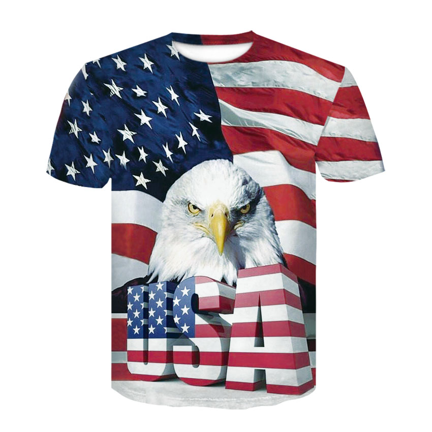 2018 New USA Flag T-shirt Men / Women Sexy 3d Tshirt Print Striped American Flag Men T-shirt Summer Tops Tees