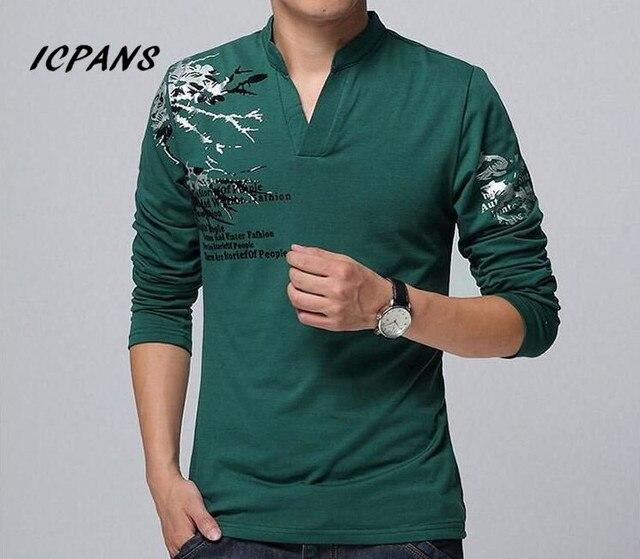 ICPANS T Shirt Men V Neck Men Print Casual T Shirts Long Sleeve Cotton Clothes Men Tshirts Size Plus 4XL 5XL 2018 Tees Tops Mens