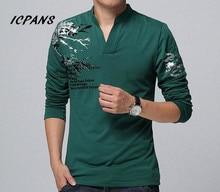 Футболка ICPANS, мужская повседневная футболка с треугольным вырезом и принтом, хлопковая одежда с длинным рукавом, большие размеры 4XL 5XL 2018