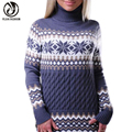 YEJIA FASHION Autumn Winter Women Long Sleeve Turtleneck Knitted Pullovers Christma Sweaters Casual Floral Printed Jumper Poncho