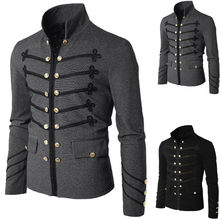 Punk Men's Vintage Military Uniform Shawl Lapel Suit Blazer Black Gray Embroidered Button Solid Color Jacket(China)