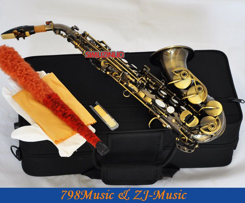 New Antique Brass Curved Soprano Saxophone sax Bb Keys High F With Case