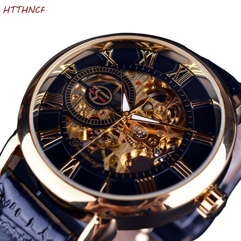 FORSINING 3D Logo Black Gold Men Skeleton Mechanical Watch Man Watches Top Brand Luxury Leather WINNER Design Montre Homme 2020
