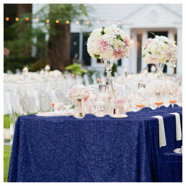 High Quality Navy Blue Sequin Table Cloth 150x225cm Sparkly Table Overlay  For Wedding