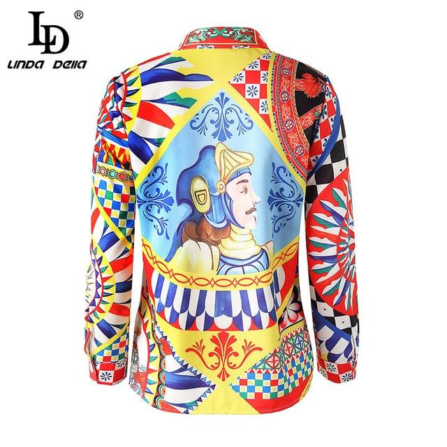 LD LINDA DELLA Runway Designer 3XL Plus size Blouses Women's Long Sleeve Vintage Chiffon Print Shirt Fashion Tops Casual Blouse 1