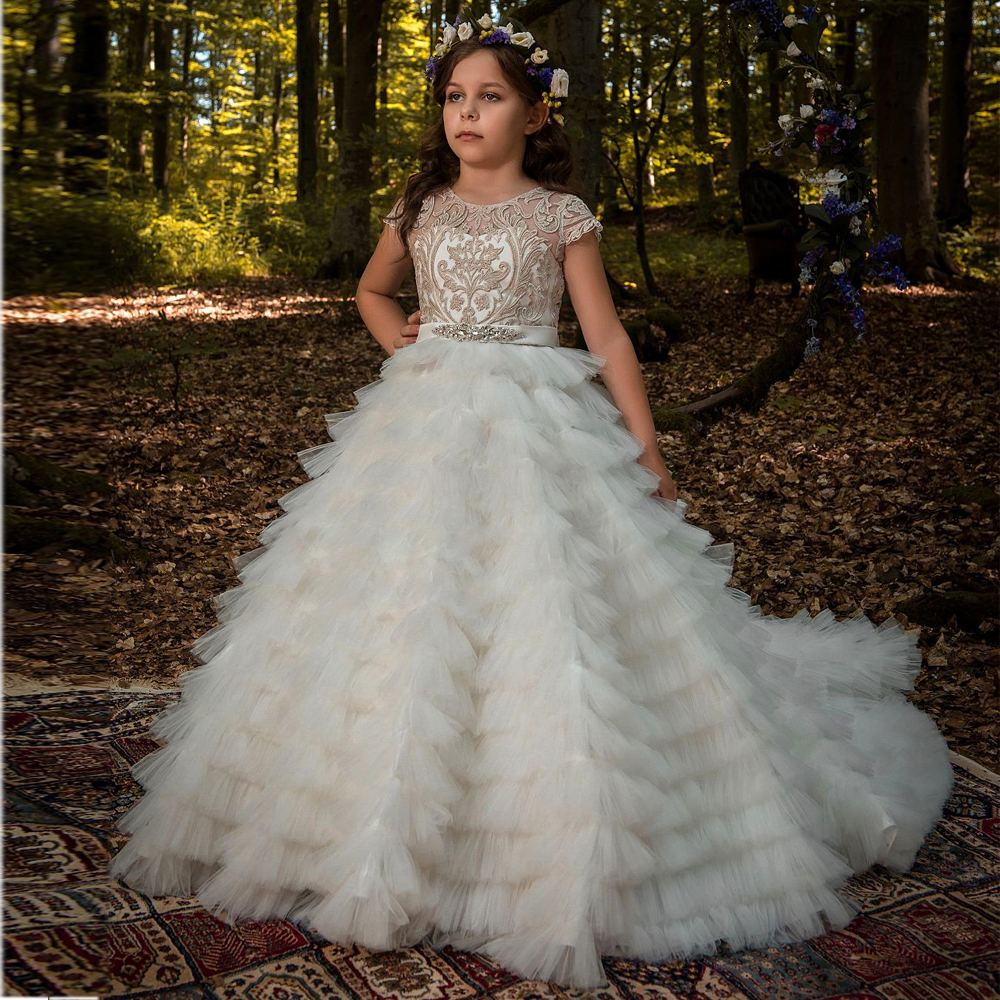 New High Quality Flower Girls Dresses Lace Appliques Beaded Belt Short Sleeve Ball Gowns Holy First Communion Dress Any Size sweet beaded halter short sleeve dress for women