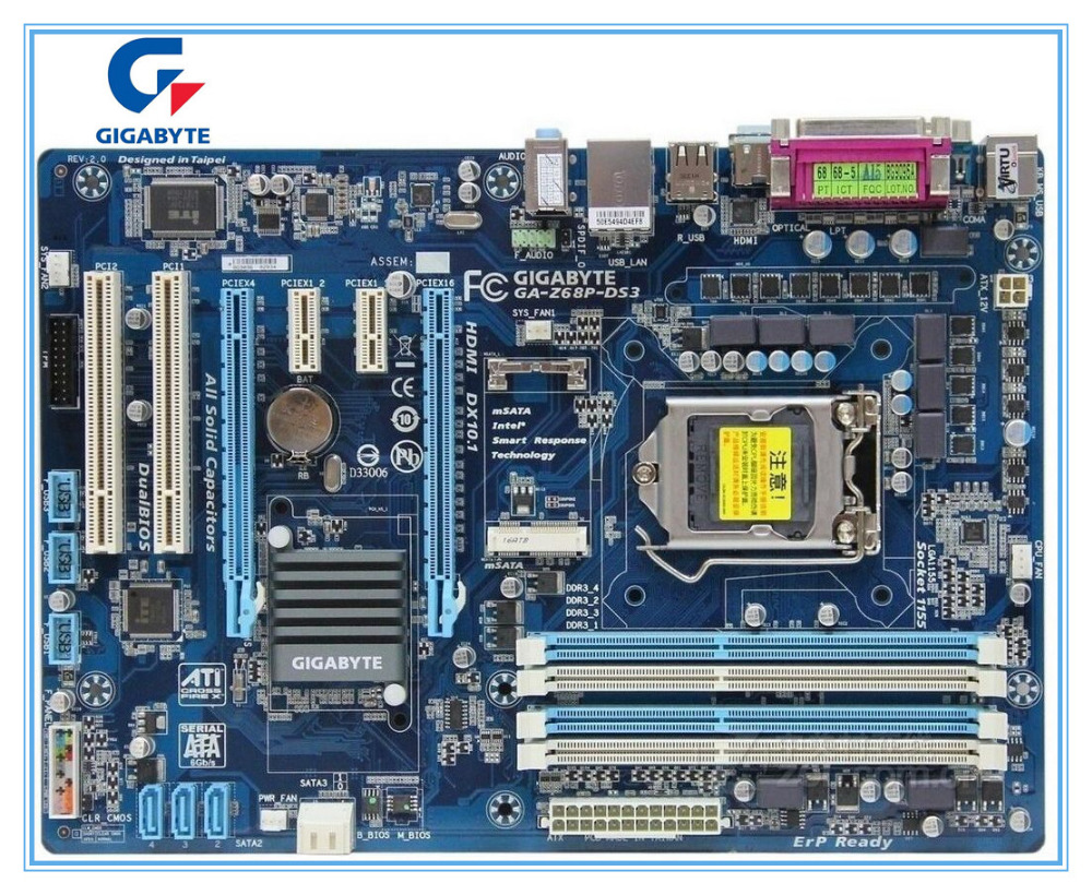 Gigabyte original motherboard for GA-Z68P-DS3 DDR3 LGA 1155 Z68P-DS3 Desktop Boards mainboard free shipping