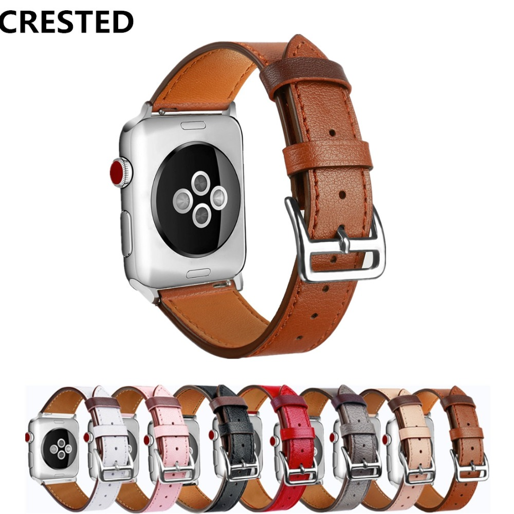 все цены на CRESTED Sport Leather strap For Apple Watch Band 42mm 38mm iwatch Series 3 2 1 wrist bands bracelet smart Watchband belt correa